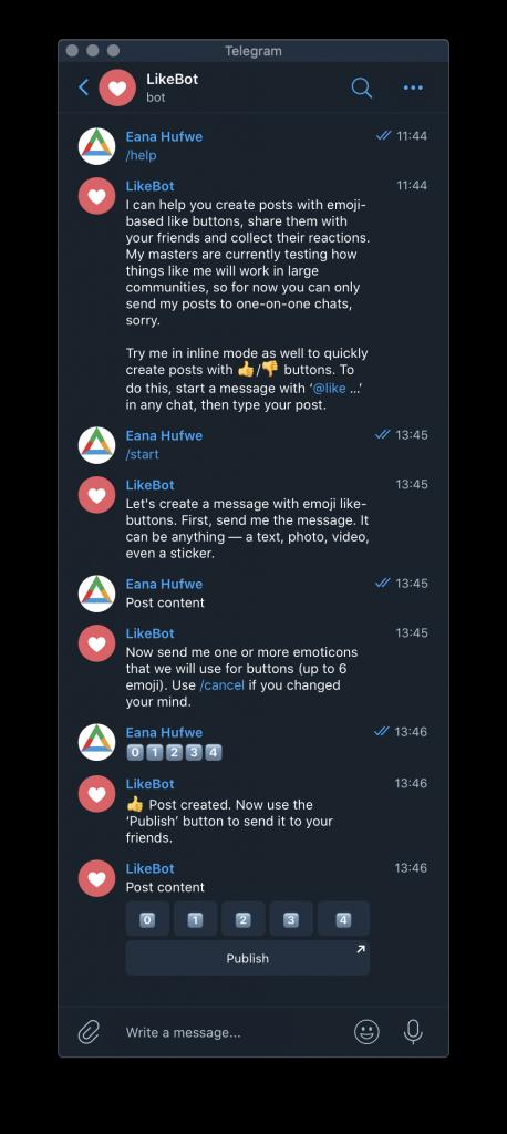 A screenshot of how @like works.