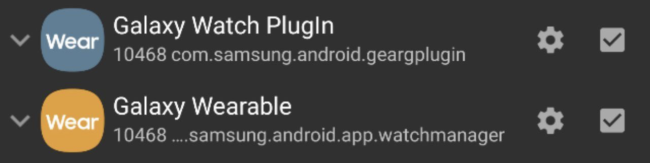 Galaxy Watch Plugin (checked) Galaxy Wearable (checked)